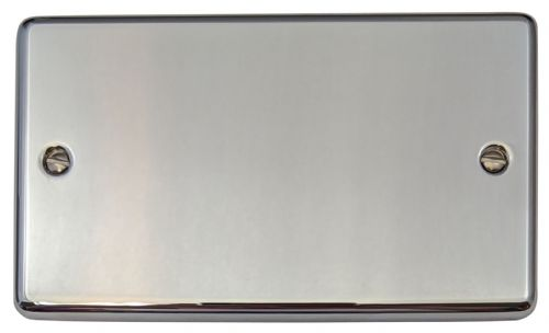G&H CC32 Standard Plate Polished Chrome 2 Gang Double Blank Plate